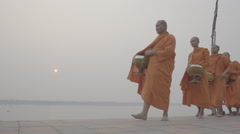 The monks walking alms in the morning Stock Footage