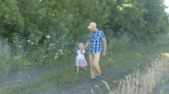 Dad Father and daughter walking outdoors on a forest path hand in hand. Famil Stock Footage