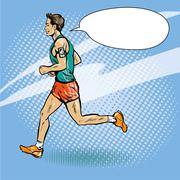 Sportsman running concept vector illustration in retro comic pop art style. Man Stock Illustration