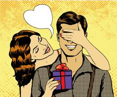 Woman presents gift to man. Vector illustration in retro comic pop art style Stock Illustration