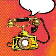 Retro phone ringing. Vector illustration in comic pop art style Piirros