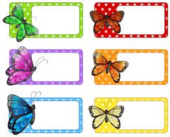 Lable design with colorful butterflies Stock Illustration
