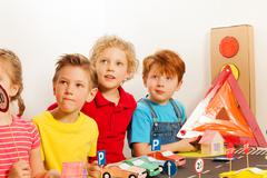 Smart kids at the road safety lesson Stock Photos