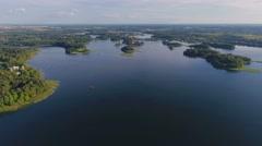 Aerial landscape, Lithuania, Trakai castle, islands on lake Galve. Stock Footage