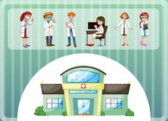Doctors working in hospital Stock Illustration