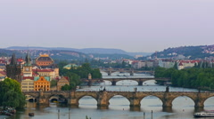 Aerial view to bridges of Prague over the River Vitava Czech Republic, Europe Stock Footage