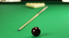 Billiard balls on the table with the cue Stock Footage