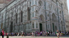 Panning up view of the Cathedral di Santa Maria del Fiore Florence, Italy - stock footage