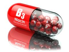 Vitamin B3 capsule. Pill with Niacin or nicotinic acid. Dietary supplements. Stock Illustration