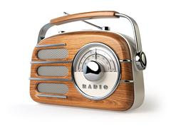 Vintage retro radio receiver isolated on white. Stock Illustration