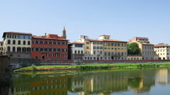 City panorama over Arno River, in Florence, Italy Stock Footage