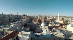 Roofs of Old City with Holy Sepulcher Church Dome, Jerusalem, Israel Stock Footage