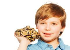 Close-up portrait of young boy with Ball python Stock Photos