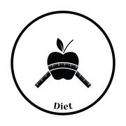 Icon of Apple with measure tape Stock Illustration