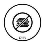Icon of Prohibited hamburger Stock Illustration