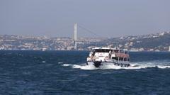Tourist cruise boat float on the Bosphorus water. Istanbul. Turkey Stock Footage