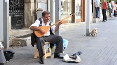 Old musician on the istiklal street in Istanbul, Turkey - stock footage