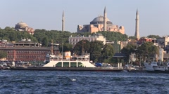 Architecture and Muslim Mosque in Golden Horn bay. Istanbul, Turkey - stock footage
