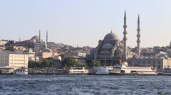 Architecture and Muslim Mosque in Golden Horn bay. Istanbul, Turkey Stock Footage