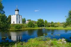 Church of Intercession on Nerl near village of Bogolyubovo, Russia Stock Photos