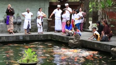 People are fed carp in pond next sacred springs water temple. Bali, Indonesia Stock Footage