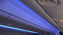 4k Window seat aeroplane night flight aboard light illumination Stock Footage