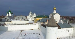 Flying above the massive white walls of the Kremlin in Rostov the Great. Stock Footage