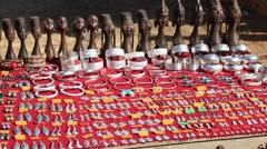 Hand-made souvenirs on the counter of the market. Inle Lake. Myanmar, Burma - stock footage
