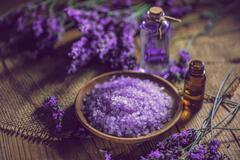 Bath salt and massage oil - stock photo