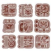 Mayan glyphs, writing system and languge vector design - stock illustration