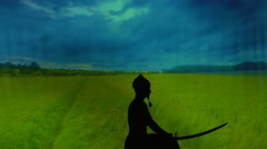 Silhouette of a brave man, Cossack, or the warrior who is training with the - stock footage