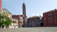 A venetian square (Campo Sant'Angelo) in Venice, Italy - stock footage