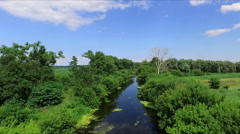aerial photography little wild river, aero - stock footage