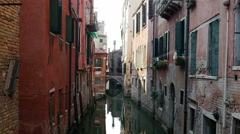 Small canal of Venice, beautiful lonely space of city full of tourists Stock Footage
