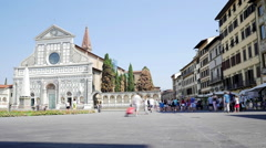 Tourists walking on the Piazza Santa Maria Novella in Florence, Italy Stock Footage