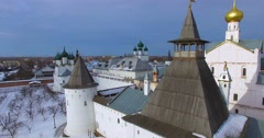 Aerial view of the citadel (1670-1683) in Rostov the Great, ancient russian - stock footage