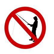 Vector illustration ban fishing. - stock illustration