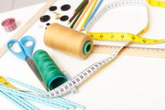 Objects for creating clothing in atelier Stock Photos