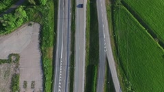 Aerial view on cars driving on route keha 3 near jarvenpera and marketanpuist Stock Footage