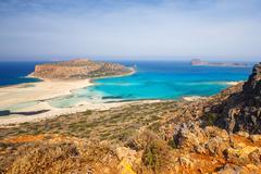Beautiful Balos Lagoon and Gramvousa Island in Crete Stock Photos