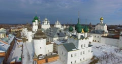 Kremlin in Rostov the Great, ancient russian town. Aerial. Wonderful winter day. Stock Footage