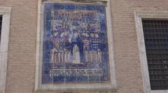 Valencia, Ceramic Tiles on Cathedral, Plaza de Décim Juni Brut Stock Footage
