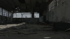 Abandoned Warehouse. Factory in ruins. Stock Footage