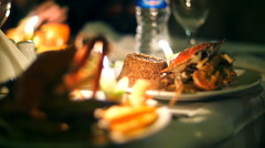 Crab seafood restaurant by candlelight Stock Footage