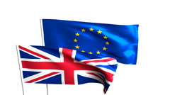 Flags of the United Kingdom and the European Union. Brexit referendum. - stock footage