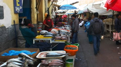 Wide view of a fish street market at cusco in peru Stock Footage