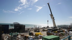 Renovation of the beach - gigantic building site Stock Footage