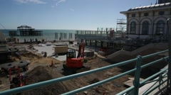 Building site on Brighton beach in England Stock Footage