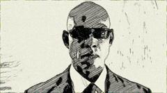 Cartoon Style Men in Black Animation - stock footage