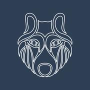 arctic wolf logo vector - stock illustration